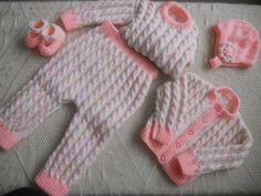 Hand Knitted Baby Girl Autumn or Winter Set:  Cardigan, Jumper, (sweater) Elasticated waist Pants, (Trouser) Hat & Booties.