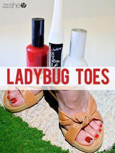 Adorable ladybug toe nail tutorial ... come onnnnn warmer weather!
