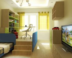 Bedroom Awesome Teenage Room Design Ideas: Awesome Teenage Boy Bedroom With Single Bed And Cabinet Tv And Study Area And Flat Screen Television And Chair Flooring Tiles And Pendant Lamp