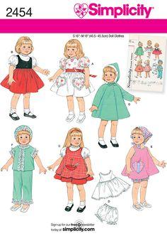 sewing projects by daisy kingdom   Doll Wardrobe sewing pattern Sewing Pattern 2454 Simplicity