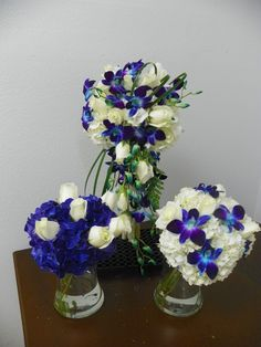 Blue and White Bridal Bouquets, Maid of Honor Bouquet and Bridesmaid Bouquet by www.abweddingstampa.com