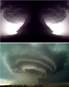 Supercell is the name given to a continuously rotating updraft deep within a severe thunderstorm (a mesocyclone) and looks downright scary. They are usually isolated storms, which can last for hours, and sometimes can split in two, with one storm going to the left of the wind and one to the right.