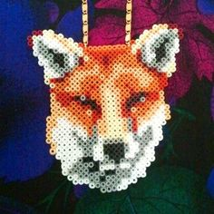 Fox Necklace hama beads design by tructoc. For Kevin Perler Bead Designs, Hama Beads Design, Diy Perler Beads, Hama Beads Patterns, Perler Bead Art, Pearler Beads, Fuse Beads, Beading Patterns, Hama Beads Animals