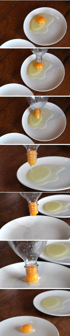 BRILLIANT!  Squeeze the bottle a little and suck up the yoke.   No more yoke in your egg whites!  They say it works