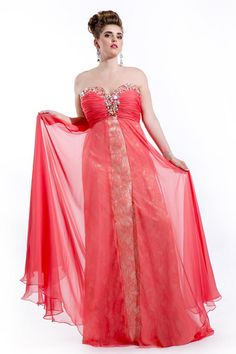 Wholesale Plus Size Prom Dress 2014 - Buy Gather Bust Empire Plus Size Prom Dresses Sweetheart Neckline with Crystal Lace-Up Back Nude Underlay with Lace Chiffon Long Plus Collection, $123.02   DHgate