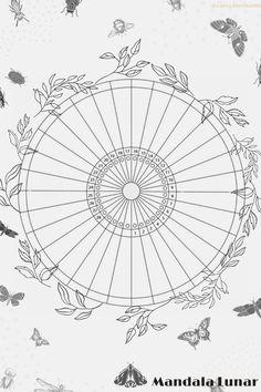 Wicca, Bullet Journal Work, Moon Cafe, Creative Calendar, Moon Mandala, Manifestation Journal, Astrology Chart, Moon Magic, Nature Journal