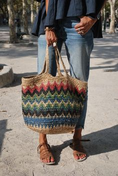 Satchel Backpack, Satchel Handbags, Haute Couture Bags, Love Crochet, Knit Crochet, Art Bag, Basket Bag, Jute, Bag Accessories
