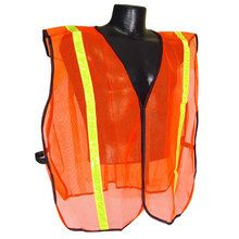 Radians Men's Non-Rated High Visibility Mesh Safety Vest with Reflective Tape provides visibility in busy traffic areas, aroun. Orange Vests, Industrial Safety, Peach Colors, Mesh Fabric, Unisex, Tape, Heavy Equipment, Peaches, Stripes