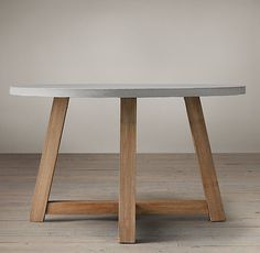 Eat in breakfast?  Salvaged Wood & Weathered Concrete Beam Round Dining Table