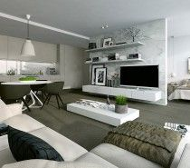 white modern studio design