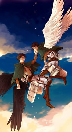 """Uuugghh i cant look at this without crying because its like they both died and eren is ju........*sniffles*.... its just like they were on their way and erens wings started turning black and he started falling and he told Levi.....""""Im sorry""""........*sobs* ........and he says his final goodbye.... -BY ISABELLA LOPEZ"""