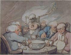 Thomas Rowlandson, Death in the Bowl (Ashmolean Museum, Oxford) Century, Victorian Era, Watercolor, Caricature, Painting, Death, Art, Ominous, Humanoid Sketch