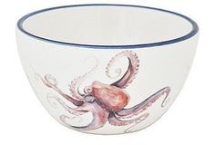 This seaside-inspired bowl with an octopus motif is perfect for serving your favorite seafood dishes.