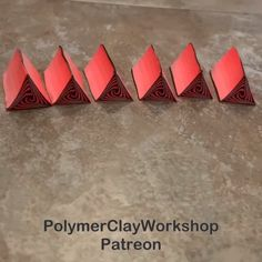 The video for how I made the triangles is on Patreon. You will need some experience in making blends. Polymer Clay Ornaments, Polymer Clay Canes, Polymer Clay Flowers, Polymer Clay Projects, Polymer Clay Creations, Handmade Polymer Clay, Polymer Clay Jewelry, Clay Crafts, Sculpey Clay