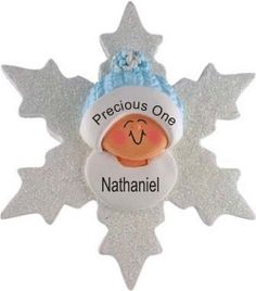Baby at Christmastime Blue Snowflake - Personalized First Christmas Ornament