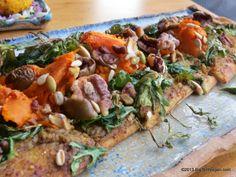 Shiitake Artichoke Pesto Pizza with yams, shallots, arugula, and nuts, Chef Tanya Fuqua and Chef Mark Cleveland, Avanti Cafe (Costa Mesa, CA) #vegan