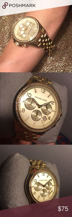 Michael Kors all stainless steel watch Pre-loved Gold Michael Kors Watch with Crystals all around the perimeter. Great condition, just needs a new battery. Michael Kors Accessories Watches