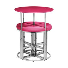 5pc Table and Stool Set, Hot Pink/Chromed Steel Legs
