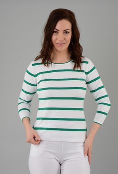 3/4 Sleeve With Textured Spot Striped Jumper