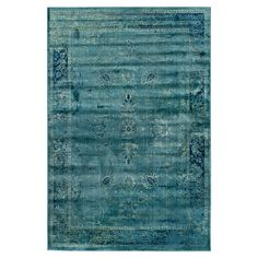 Loomed art silk rug with a distressed Persian motif.