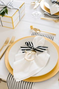 This lush holiday collection table settings - gold & black & white, created by Sugar Paper Los Angeles for Target is beyond fabulous Christmas Table Settings, Christmas Decorations, Wedding Decorations, Table Place Settings, Christmas Tables, Birthday Decorations, Tree Decorations, Wedding Centerpieces, Beautiful Table Settings