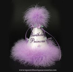 Birthday Princess White Lavender Marabou Party Hat