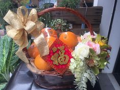 Chinese New Year oranges basket with flowers Chinese Decorations, Chinese New Year Gifts, Lunar New, Basket, Holiday, Flowers, Vacations, Holidays, Flower