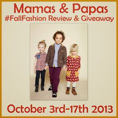 Mamas  http://www.thriftyniftymommy.com/2013/10/mamas-papas-clothing-for-kids.html?showComment=1381975987065#c3662406983729811770