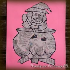 Tvoření vhodné třeba na konec dubna k pálení čarodějnic. Na barevný papír namalujeme nebo vytiskneme obrys čarodějnice nebo jiného obrázku. Necháme děti polepit plochu novinami. Větší děti si obrázek i domalují fixou či tuší, menším budeme muset s domalováním pomoci. Můžete také použít naši čarodějnici z pracovního listu - ke staženízde. Novinovou technikou jsem se inspirovala od Moniky z kopečku, kde vyráběli krásné kočičky.