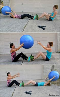 Use a stability ball and a resistance band for this full-body partner workout