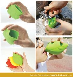 "Portable Leaf Cup.    Cute little foldaway to carry ""just in case."""
