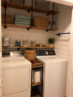 Beautiful and simple home decor. Small laundry room organization Laundry closet ideas Laundry room storage Stackable washer dryer laundry room Small laundry room makeover A Budget Sink Load Clothes Small Laundry Rooms, Laundry Room Organization, Laundry Room Design, Laundry In Bathroom, Basement Laundry, Vintage Laundry Rooms, Laundry In Kitchen, Farmhouse Laundry Rooms, Basement Stairs