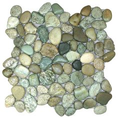Order CNK Tile Pebble Tiles Glazed Sea Green Pebble Tile, delivered right to your door. Pebble Mosaic Tile, Pebble Art, Mosaic Glass, Mosaic Bathroom, Stained Glass, Stick On Tiles, Pebble Stone, Shower Floor, Decorative Tile