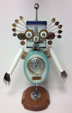 "Found Object Robot ""Lashes"" Junk Art Sculpture - Assemblage"