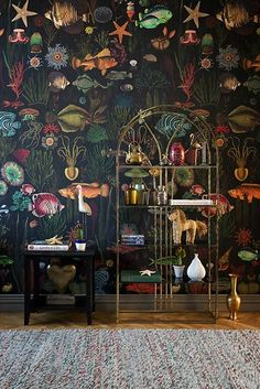 European designer wallpaper / wall covering panel - feature wall - ocean sea life underwater world exotic tropical fish black green - A designer wallcovering that is printed with environmentally friendly inks on a high-quality nonwov - Wallpaper Wall, Ocean Wallpaper, Wallpaper Panels, Interior Wallpaper, Wallpaper For House, Bathroom Wallpaper Fish, Underwater Wallpaper, Antique Wallpaper, Amazing Wallpaper