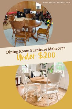 I've always wanted a farmhouse dining room set, but I didn't want to pay the price! So I bought AND refurbished these table and chairs for under $200 and you can to by following my step by step process! You'll hardly believe the before and after pictures! #diyfarmhousetable #refurbishedfurniture #beforeandafter #furnituremakeover #stepbystep