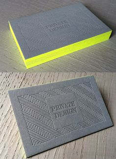 Textured Letterpress Business Card Design With Bright Neon Edge Painting Letterpress Business Cards, Cool Business Cards, Business Branding, Business Card Design, Creative Business, Corporate Design, Web Design Mobile, Folders, Bussiness Card