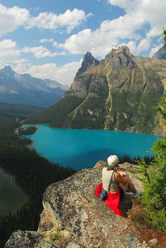 Admiring Lake O'Hara from Opabin Prospect in Yoho National Park, Canada (by Cormac).