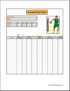Blank Basketball Stat Sheet | Basketball | Pinterest