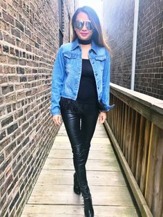 denim jacket, denim jacket for women, feathers, denim jacket for feathers, how to style your denim jacket, denim jacket outfit, all black outfit, fall fashion, fall fashion 2017, winter fashion, winter fashion 2017, leather pants, leather pants outfit, fashion inspiration, outfit inspiration, outfit ideas, how to style your leather pants, fashion blogger, date night outfit, girl date night outfit