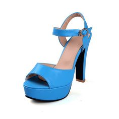 WeiPoot Women's Buckle Open Toe High-Heels PU Solid Heeled-Sandals -- Check out this great product.