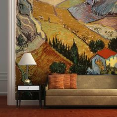 Turn any space into a statement with our bespoke Wall Murals and Wallpapers. Our stunning Wall Murals use images of old paintings and old masters by the most renowned artists. Feature Wallpaper, Wall Wallpaper, Mural Painting, Painting Prints, Cool Wallpapers For Walls, Van Gogh Landscapes, Wall Murals, Wall Art, Old Paintings