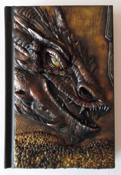 Notebook with polymer clay handmade cover, dragon Smaug, Hobbit, fantasy, gold, A6, 100 white blank sheets