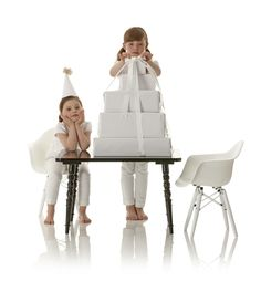 kids modern rectangular play table by Little Nest William table in yellow with clear legs  $275