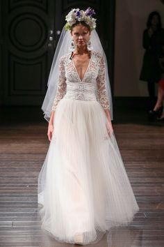 Bridal designers have taken a more daring approach for the Fall 2016 collections offering wedding gowns in an array of silhouettes and plunging necklines. Christos Bridal, Naeem Khan Bridal, Berta Bridal, Bride And Breakfast, White Gowns, Wedding Wishes, Wedding Blog, Plunging Neckline, Bridal Style