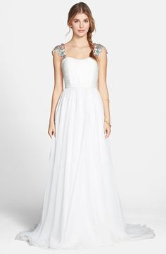 Sherri Hill Embellished Cap Sleeve Chiffon Gown available at #Nordstrom