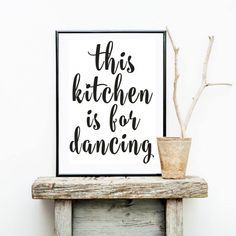 This Kitchen is For Dancing Delightful Minimalist Black and White Canvas Print Wall Art Poster Paintings For Kitchens and Modern Home Decor Kitchen Canvas Art, Kitchen Wall Art, Kitchen Paint, Canvas Wall Art, Wall Art Prints, Kitchen Decor, Kitchen Living, Decorating Kitchen, Diy Kitchen