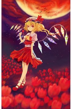 Touhou Project Flandre Scarlet Red Dress Cosplay Outfits Costumes