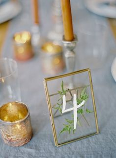 Intimate blue & metallic wedding inspiration. Love the frame table number. Shop the look here: http://www.save-on-crafts.com/double-glass-picture-frame-6.html