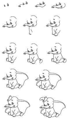Simple drawings step by step Draw Dumbo How-to-Draw Lesson I . - Simple drawings step by step Draw Dumbo How-to-Draw Lesson I love that - Easy Disney Drawings, Easy Doodles Drawings, Easy Doodle Art, Easy Cartoon Drawings, Disney Sketches, Art Drawings, Cartoon Images, Drawing Disney, Kawaii Disney